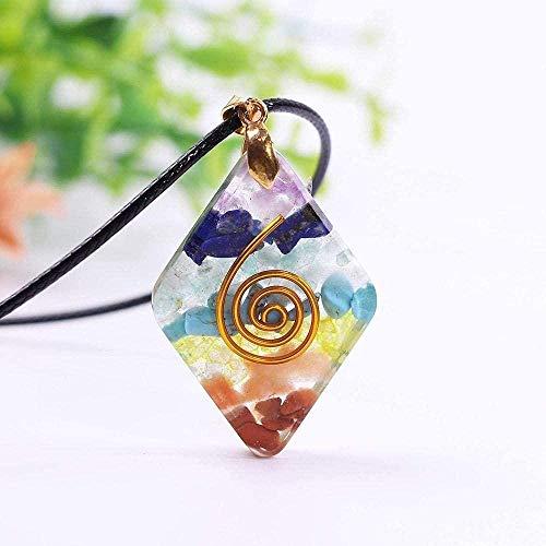 LBBYMX Co.,ltd Collar 7 Chakra Rainbow Orgone Crystal T para Fortalecer el Sistema inmunológico Healing Crystal T Energy Collar de joyería