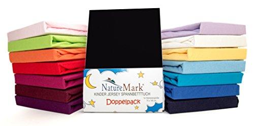 2er Sparpack Kinder Spannbettlaken Jersey 100% Baumwolle für Kinderbettmatratzen ÖKO Tex Geprüft- Gr. 70 x 140 cm, Schwarz