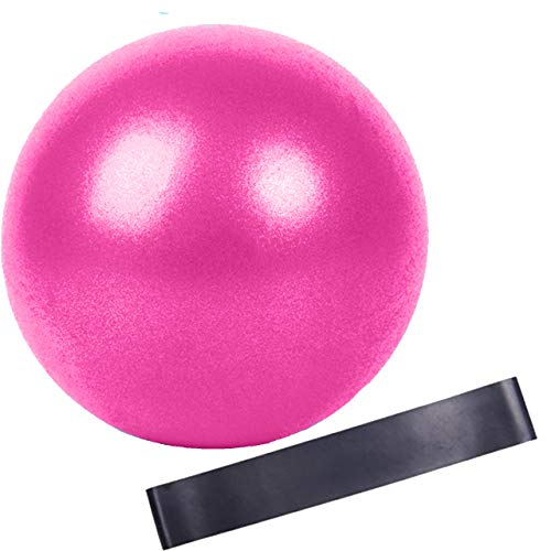 Slosy Kit Pelota para Pilates 25Cm Rosa Pequeña + Bandas Elasticas Accesorios Gym Bola De Yoga Material De Gimnasio Entrenamiento Crossfit Mejora la Resistencia Mini Ball Cinta de Goma