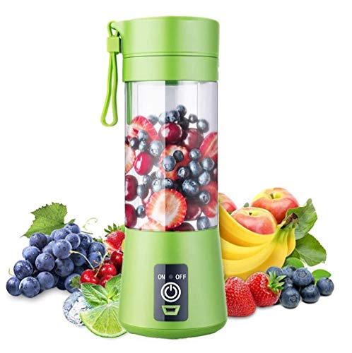 Aizbao 380ml Portable Blender, Six Blades 3D Juice 380ml cup, Small Fruit Mixer, Personal Mixer Fruit Rechargeable with USB, Mini Blender for Milk Shakes, Smoothie, Fruit Juice (Dark Green)