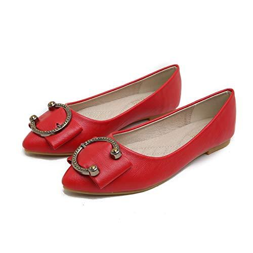 Kimpola Zapatos Mujer Bailarinas Plano Lindo Estilo Retro Salvajes Cucharada Puntiaguda Bombas Planas para de Noche/de Boda/Formal/Informal En Primavera Verano Otoo-Rojo 40