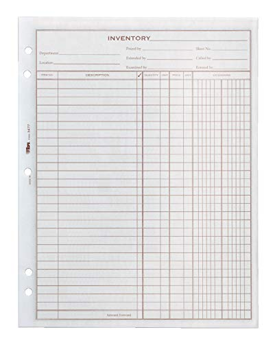 Adams Inventory Sheet, 100 Sheets per Pad, 2 Pads per Pack, 8.5 x 11 Inches, White (34771) (TOP34771)
