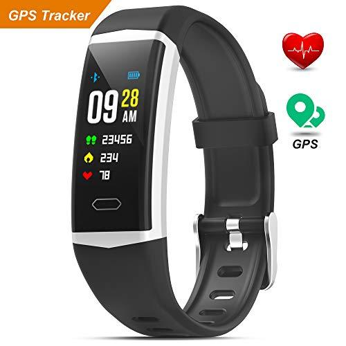 Fitness Armband mit Pulsmesser Wasserdicht IP68 Fitness Tracker GPS Smartwatch Aktivitätstracker Blutdruck Pulsuhr Schrittzähler Uhr Sportuhr für Damen Herren Anruf SMS Beachten für iPhone Android
