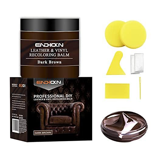 Endhokn 200ml Cuero Marrón Kit De Reparación De Cambio De Color De Vinilo - Asiento De Coche, Sofá y Productos De Cuero para Grietas, Decoloración, Pasta De Reparación De Color Desgastada