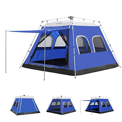 ayamaya Camping Tents 4-6 Persons/People/Man Instant Cabin Tent with [6 Screen Windows], Waterproof Hydraulic Automatic Quick Easy Setup Ventilation Screenhouse Sunshade Canopy for Travelling Family