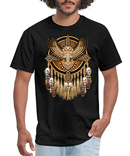alice hawkins Beadwork Great Horned Owl Mandala Men's T-Shirt