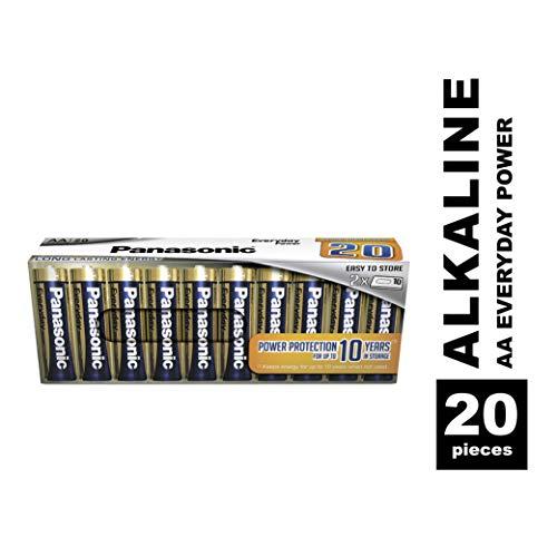 Panasonic EVERYDAY POWER Alkaline Batterie, AA Mignon LR6, 20er Pack in plastikfreier Verpackung, für zuverlässige Energie, Alkali-Batterie