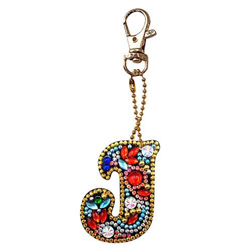 Prosperveil Rhinestone Alphabet Initials Keyrings DIY Diamond Letter J Colourful Crystal Keychain Keyrings for Women Girls Bag Purse Handbag Charms Pendant Birthday Gift