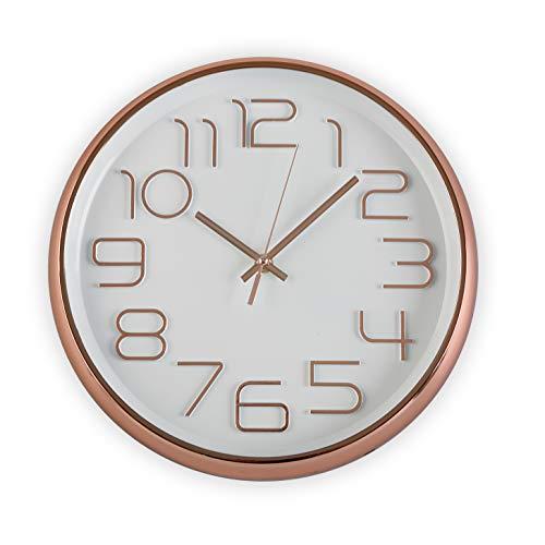 Versa Pared Silencioso Decorativo, Salón, el Comedor o la Habitación Redondo Diámetro. Color Blanco, Reloj Cocina Cobre 30 CM, 4,5 x 30 x 30 cm