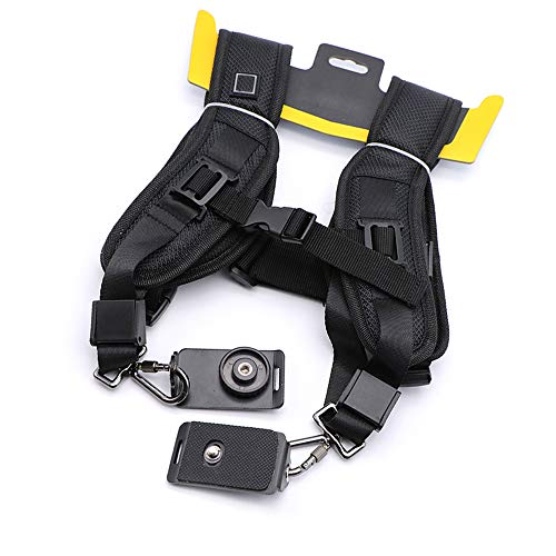 Doble correa de hombro doble para cámara réflex digital con 2 correa de hombro para Nikon Sony DSLR (negro)