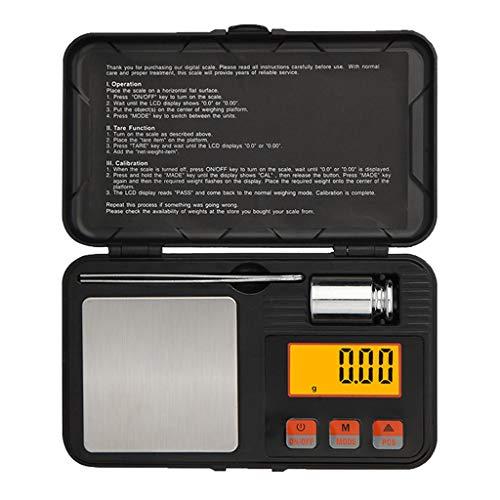 LXYScales Intelligente precisieweegschaal 0,01 g, digitale weegschaal, ultralichte weegschaal met mini LCD-display, 200 g x 0,01 g zonder batterij, zwart 14 x 8,4 x 2,3 cm nauwkeurigheid