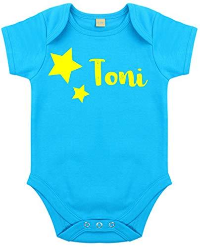 Body mit Namen | Motiv Sterne & Name | Personalisieren & Bedrucken | für Mädchen & Jungen Kurzarm Baby-Strampler inkl. Namensdruck