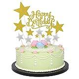 Allazone Decoraciones para Tarta, 1 Pz Oro Happy Birthday y 12 Pz Palillos con Estrellas Doradas y Plateadas, Happy Birthday Topper Decoración para Cumpleaños Baby Shower Fiesta Temática