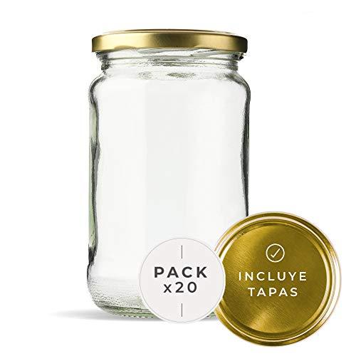 Tarros de Cristal para conservas Pack 20 Unidades de Botes de Cristal con Tapa frascos de Vidrio con Tapas Incluidas recipientes de Cristal para Alimentos de 720ml estanco. (20 Unidades)