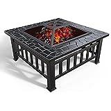 Yuxahiug Feuerstellentisch mit Grillablage, 3 in 1 Quadratische Feuerstelle für Grill, Heizung, Eisstelle, Metall-Feuerschale für Garten Terrasse Outdoor, mit wasserdichter Abdeckung