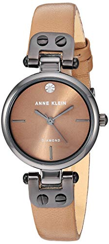 Anne Klein Women's Genuine Diamond Dial Gunmetal and Mocha Brown Leather Strap Watch, AK/3513GYMO