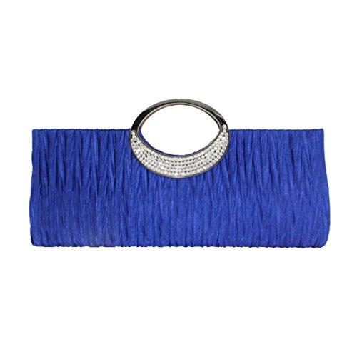 winwintom Moda Bolsos para Mujer, Casual Bolsos de Totes Mano, Dama Mujer Elegante Noche Boda Bolso Embrague Diamante de Imitación Satín Plisado Bolsos (Azul)