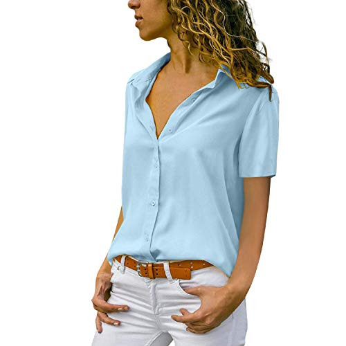 Womens Summer Short Sleeve Chiffon T-Shirt Office Ladies Plain Button Down Blouse Top with Collar Blue
