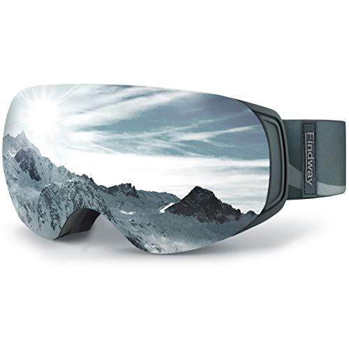 findway Ski Snowboard Goggles, Magnet Interchangeable Lens OTG Winter Snow Goggles Anti-Fog UV Protection Helmet Compatible for Men Women