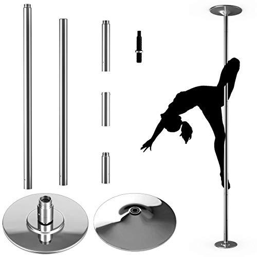 COSTWAY Palo Pole Dance Professionale Palo da Ballo di 45mm in Acciaio Inox, Statico e Girevole, Regolabile in Altezza,Incluso Dvd