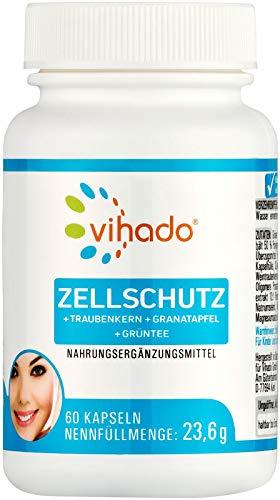 Vihado Zellschutz + Immunsystem Komplex, Traubenkernextrakt OPC + Granatapfel + Grüntee + Vitamine A-C-E-B2 + Selen + Kupfer + Mangan, 60 Kapseln, 1er Pack (1 x 23,6 g)