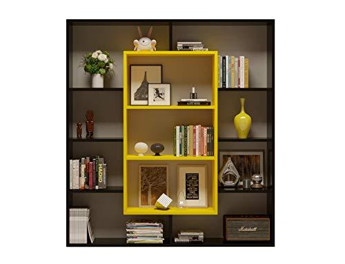 HOMIDEA Venus Libreria - Scaffale per Libri - Scaffale per Ufficio/Soggiorno dal Design Moderno (Nero/Giallo)
