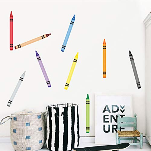 Crayon Decorations Wall Decals DIY Stickers for Kids Preschool Classroom Playroom 12' Long