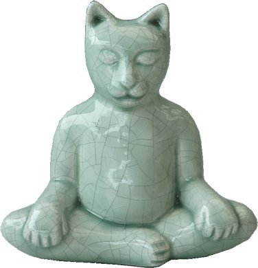 Venice Clay Artistic Ceramic Animal Figurine Keepsake Urn (Buddha Cat, Celadon Crackle)