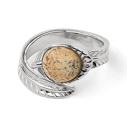 Anillo abierto de color plateado redondo piedra natural cristal cabujón hoja tallada anillos de dedo ajustables para mujeres hombres joyería