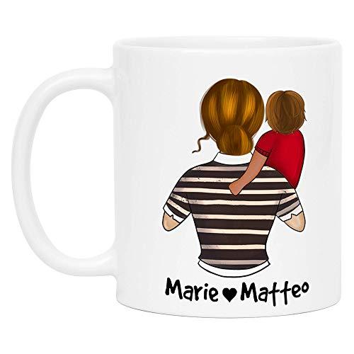 Kiddle-Design Mutter Kind Tasse Personalisiert Name und Frisur Mama Kinder Tochter Sohn Baby Geschenk Kaffeetasse für Mütter Mutter & Kleinkind