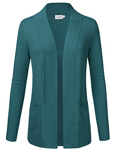 JJ Perfection Women's Open Front Knit Long Sleeve Pockets Sweater Cardigan Teal XL