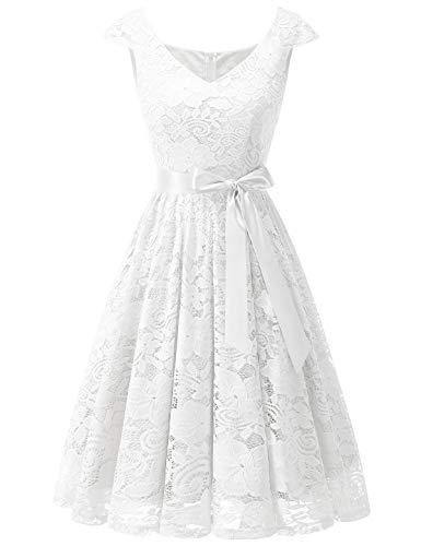 Meetjen Damen Elegant Spitzenkleid V-Ausschnitt festliches Cocktailkleid Abendkleider White XL