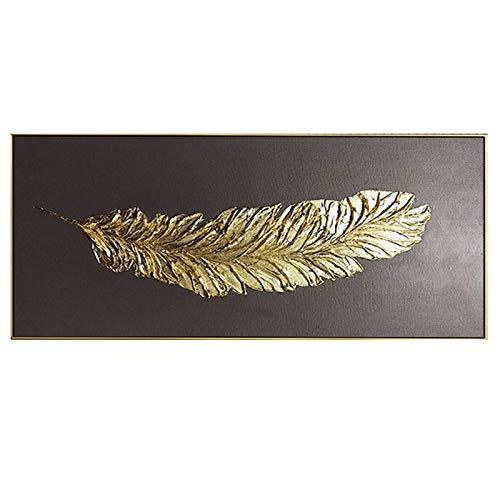 Schilderij 3D Modern Abstract Gouden Veer Canvas Schilderij op Het Huis Muur Kunst Muur Grafische Decoratie Beeld Olieverfschilderij 70x140cm