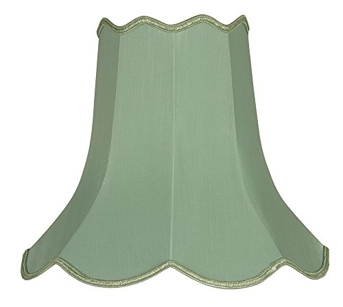 Preisvergleich Produktbild Oaks Lighting Lampenschirm 25, 4 Kunstseide Scallop parent Traditionell salbeigrün