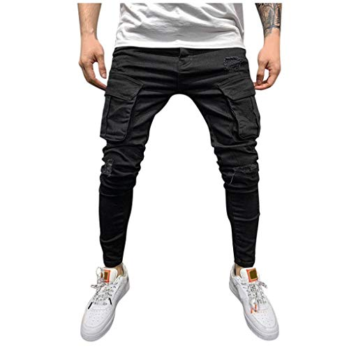Hmlai Clearance Men's Slim Fit Straight Leg Elastic Cargo Pant Fashion Casual Skinny Denim Jeans Multi Pocket Trousers (S,Dark Gray)