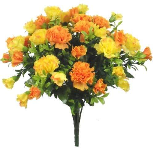 A1-Homes 35cm seta artificiale arancione e giallo Carnation Flower Bush–casa matrimonio tomba