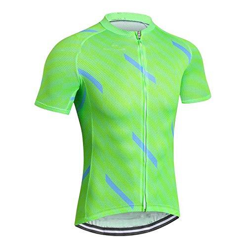 Maillot Ciclismo Hombre - Manga Corta Verano Verde Carreras Ciclismo Top Montar Camisa Ropa De Bicicleta con Maillot De Bicicleta Seca Rápida para Ciclismo De Montaña De Carretera Y Ropa Deportiva,