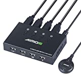 AIMOS USB 2.0 Switch 4 Entradas y 4 Salidas, KM Conmutador para Compartir Un USB Periférico Entre Dos Ordenadores, Teclado, Ratón, Memorias USB, Disco Duro, Impresoras, Escáneres, etc