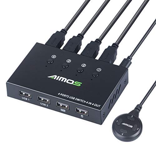 AIMOS USB 2.0 Switch für 4 Computers 4 In 4 Out Umschalter für Teilen Drucker, Scanner, Tastatur, USB Sticks, Festplatten, Maus
