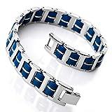 INBLUE Men's Stainless Steel Rubber Bracelet Link Wrist Silver Tone Orange Blue Black Rectangular