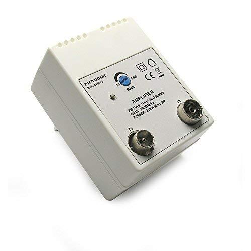 Metronic 440112 Amplificatore TV Fm/Vhf/Uhf da Rete per Digitale Terrestre con Filtro Lte, 20Db Regolabili, 1 Ingresso/1 Uscita, Bianco