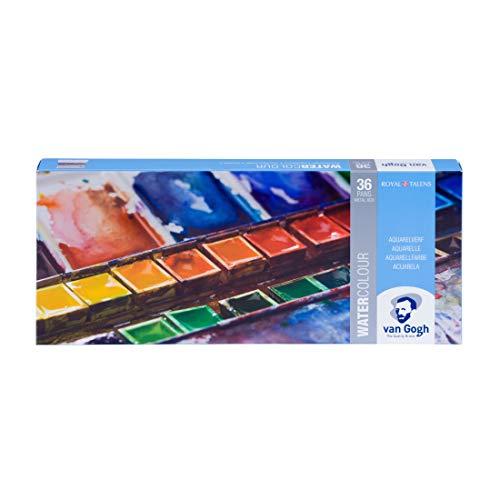 36 Näpfchen Feine Van Gogh Künstler Aquarellfarben im Metall Aquarellkasten incl. Pinsel und Mischpalette Geschenkset