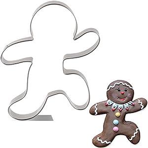 KENIAO Navidad Cortadores Galletas Hombre de Jengibre Corriendo - 9,1 x 10,6 cm - Acero Inoxidable