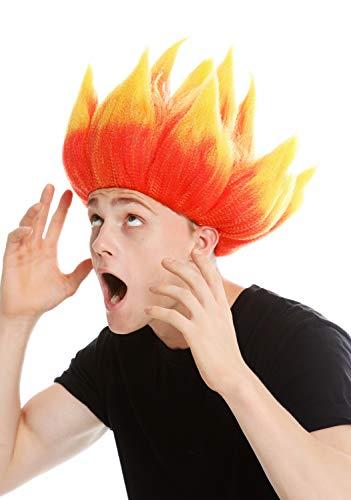 WIG ME UP- LM-19-PC13TPC2B Peluca Mujer Hombre Carnaval Pelo erizado Diablo Demonio Troll Fuego Flor Colores Rojo y Amarillo