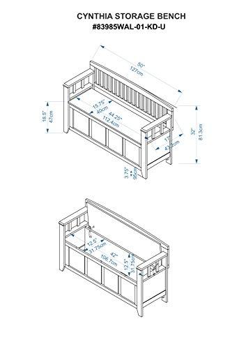 "Product Image 16: Linon Home Dcor Linon Home Decor Cynthia Storage Bench, 50""w x 17.25″d x 32″h, Walnut"