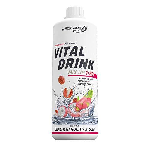 Best Body Nutrition Vital Drink Drachenfrucht-Litschi, Getränkekonzentrat, 1000 ml Flasche
