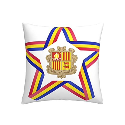 Star mit Andorra-Flagge, Kissenbezug, quadratisch, dekorativer Kissenbezug für Sofa, Couch, Zuhause, Schlafzimmer, Indoor Outdoor, niedlicher Kissenbezug 45,7 x 45,7 cm