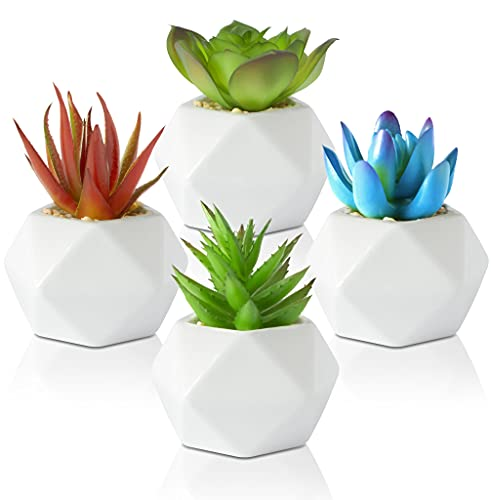 Leafy Corner Succulents Plants Artificial in Pots – Pack of 4 Small Fake Plants - Mini Faux Plants for Bathroom, Kitchen and Bedroom- Office Decor for Women Indoor Outdoor