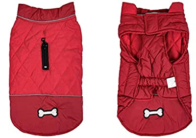 Cozy Winter Dog Jacket Vest Warm Dog Coats Reversible Clothes Pleat cotton With Harness Hole for Small Medium Large Dogs - Red - M