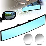 Rear View Mirror 300 mm Interior Rearview Mirror Wide Car Convex Mirror and Blind Spot Mirrors Round Convex Rear View Mirrors for Most Cars Vehicles (Blue, Clear)